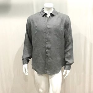 John Varvatos Mens Gray Linen Button Shirt